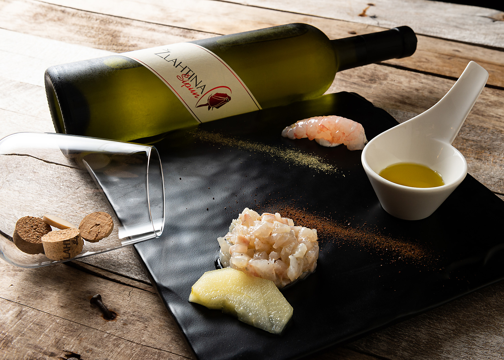 hren | plethora of creativity // Šipun winery product photography at Rivica restaurant